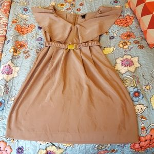 Euc Tan H&M Belted Butterfly Dress Size 8